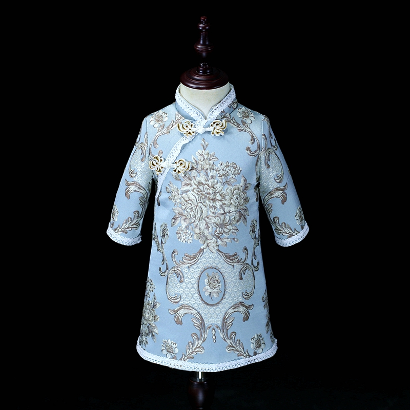 Winter palace embroidery women 4XL kids infant girl 1Y-16Y Chinese cheongsam dress family matching clothes mother daughter dressWinter palace embroidery women 4XL kids infant girl 1Y-16Y Chinese cheongsam dress family matching clothes mother daughter dress