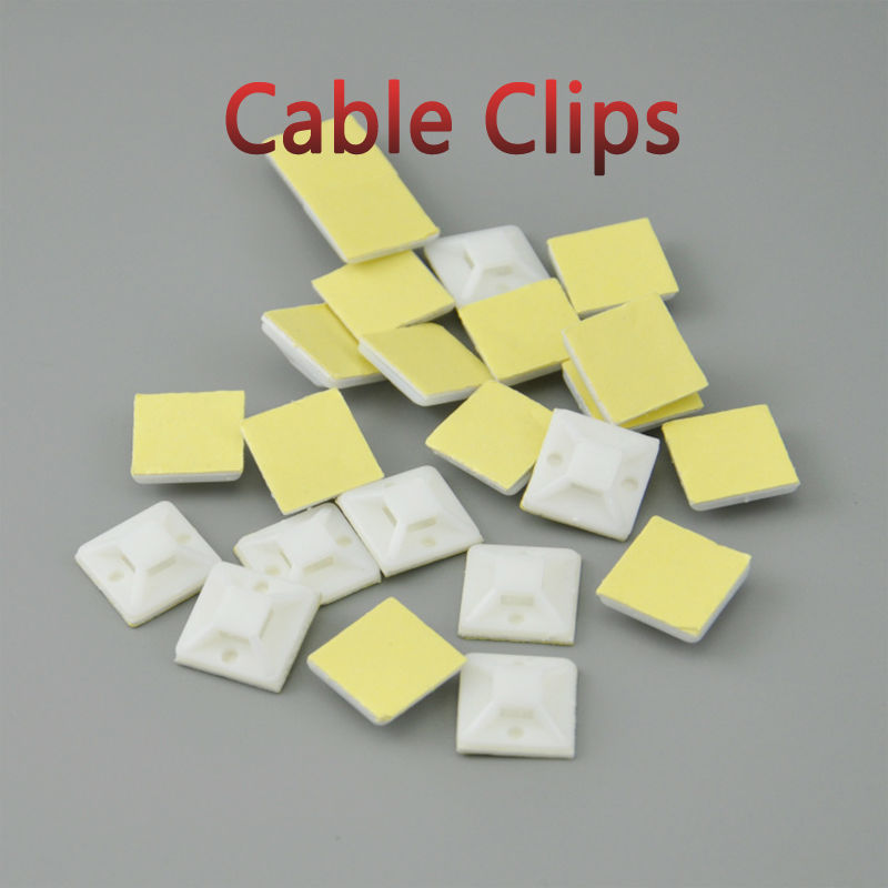 100pcs Self Adhesive Cable Tie Mounts 30*30 Car Wire Tie Clips Flat Holder Fixer Organizer Drop Adhesive Clamp White Black