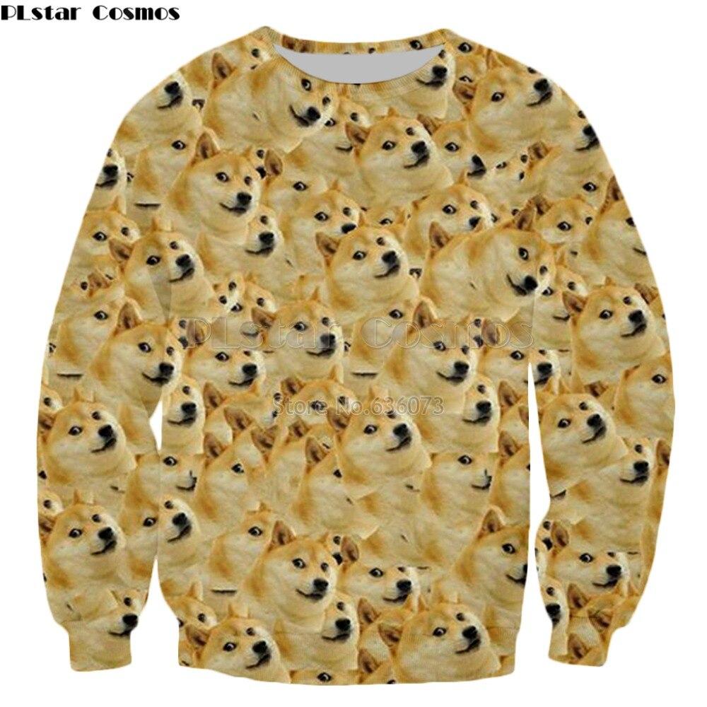 131558848 Cabeça doge PLstar Cosmos 2018 novo estilo de Moda Camisola Das Mulheres  Dos Homens Moletom Com Capuz animal cão de Deus shiba inu Impressão 3d  pullovers ...