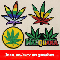 Iron On Patches Colorful Maple Leaf Design Applique Embroidery Flower Patches 4 Designs Cloth Sew On Patch