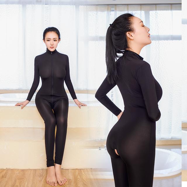 Sexy Women Shiny 2 Two Way Zipper Open Crotch Chest Transparent Bodysuit Turtleneck Body Stockings Club Wear Sexy Lingerie X38