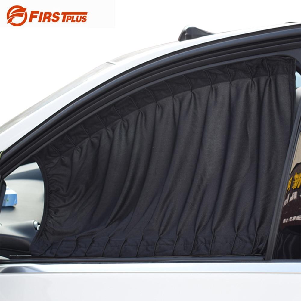 2 x Update 70L Aluminum Alloy Elastic Auto Car Side Window Sunshade Curtain Sun Visor Blinds- Black Beige Gray