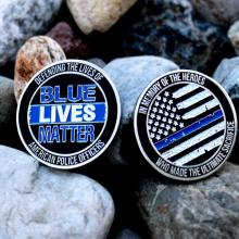 FREE SHIPPING 5PCS/LOT,LARGE BLUE LIVES MATTER POLICE ENAMELED COLLECTABLE CHALLENGE COIN
