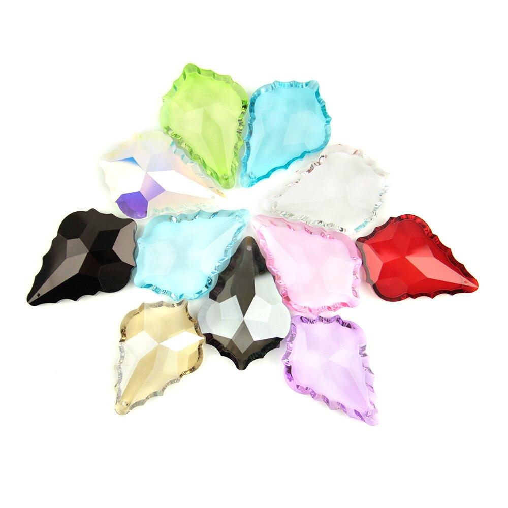 Crystal Maple Leaf Glass Lighitng Chandelier Prism Parts Crystal Chandelier Pendants 63mm/76mm 10~100pcs Colorful For Home Decor