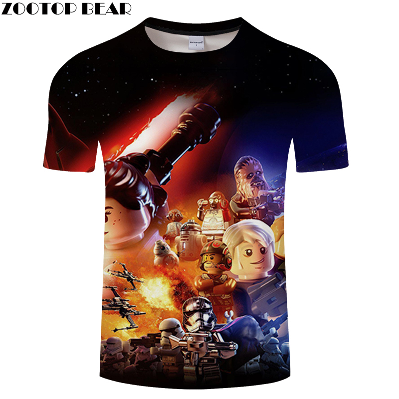 Anime Star Wars Men Shirt 3D Print Fitness Breathable Bodybuilding Summer Casual 2019 Lego Shirts Quick Dry Male Tee ZOOTOPBEAR