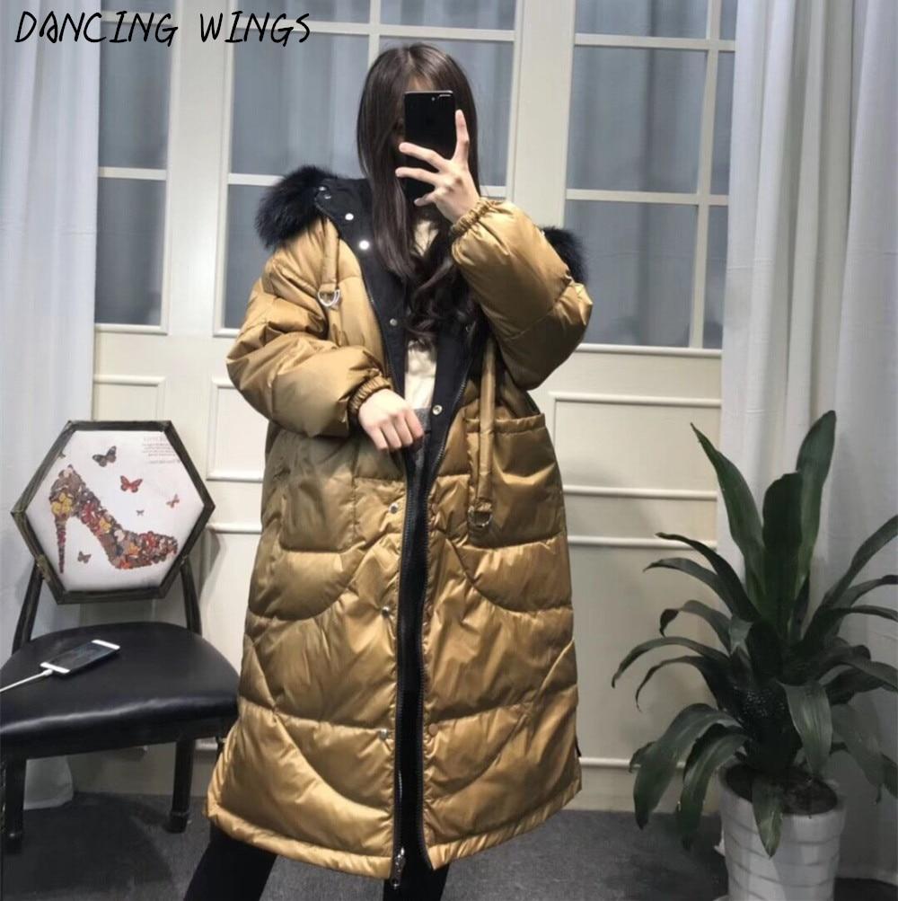 2 sided wear womens parka duck   down   hooded jackets real natural fox fur collar loose long   down     coat   women winter