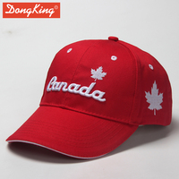 DongKing Canada Maple Leaf Cotton Baseball Caps Top Quality 3D Embroidery Sewn Cap Sandwich Curved Peak