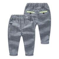 Primavera pantalones niños con estilo larga algodón pantalones niños Color sólido elástico cintura Casual Pantalones