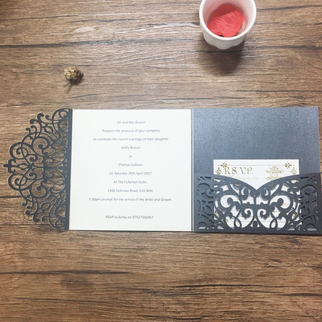 50sets Laser Cutting Black Elegant Invitation Card Printing With Pocket Handmade Wedding Invitations Envelop