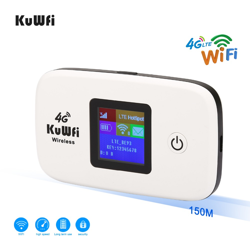 KuWFi 4G LTE Mobile WiFi Hotspot USB Dongle Support SIM Card High Speed Portable Travel Mini Router for USA//CA//Mexico