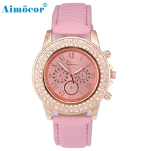 2017 Newly Designed Leisure Time Diamond Faux Leather Analog Three Eyes Wrist Watches Reloj De Las Mujeres Clock Gift L602