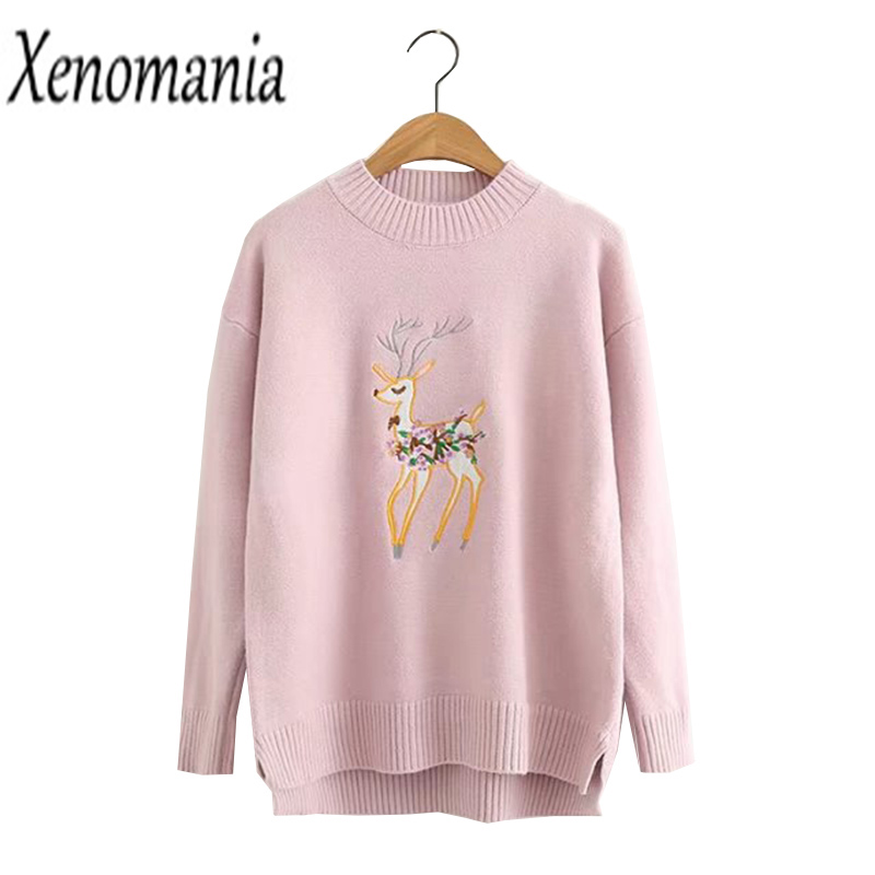 Sweater With Deer Christmas Sweater Women Sweaters And Pullovers 2017 Korean Knitted Oversized Pullover Pull Femme Jumper Unif