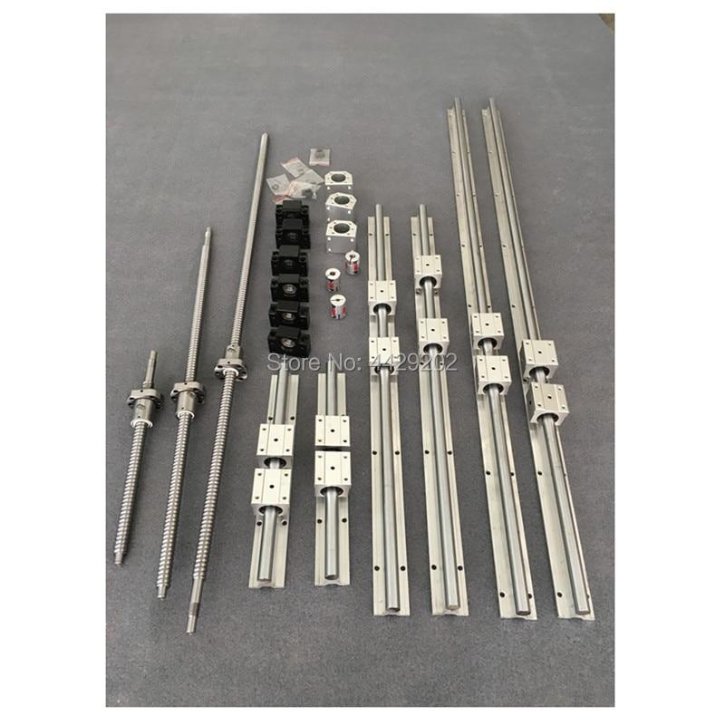 RU Delivery SBR16 linear guides Rail 6 set SBR16 - 300/1000/1300mm + ballscrew SFU1605 - 300/1000/1300mm + BK12 BF12 CNC parts 6 sets linear rail sbr16 l300 1000 1300mm sfu1605 300 1000 1300mm ball screw 3 bk12 bf12 3 dsg16h nut 3 coupler for cnc