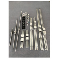 RU Delivery SBR16 linear guides Rail 6 set SBR16 300/1000/1300mm + ballscrew SFU1605 300/1000/1300mm + BK12 BF12 CNC parts