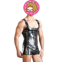 Abbille PU Leather Men Sexy Bodysuit Zipper Faux Latex Male Erotic Jumpsuit Club Stage Costume Gays