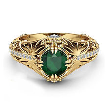 Huitan vintage ouro-cor oco anel para as mulheres moda feminina aaa zircônia cúbica jóias luxo prong ajuste anel de noivado