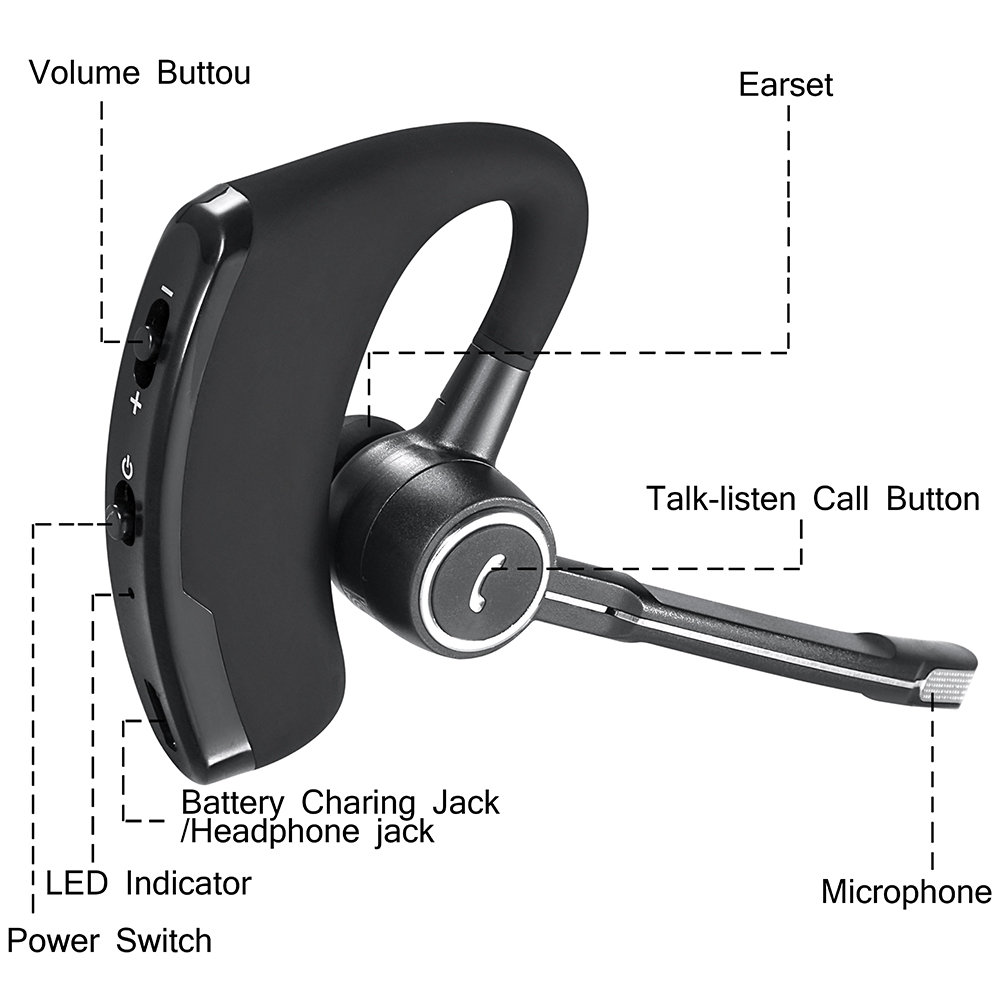 V8 Double Track  Wireless Stereo V4.0 Bluetooth Headphones Bluetooth Headset Car Driver Handsfree Earphone for Phone With Mic new dacom carkit mini bluetooth headset wireless earphone mic with usb car charger for iphone airpods android huawei smartphone