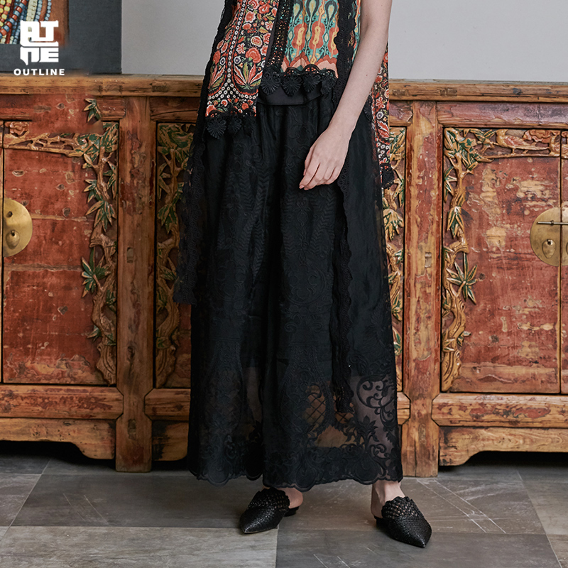 Outline Spring/Summer Mulberry Silk Loose   Wide     Leg     Pants   Embroidered Straight Tube Fashion Casual Trouser Women L191K006