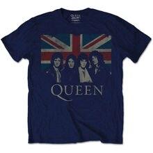 Queen Union Jack British Vintage Rock Freddie Mercury Classic Blue Mens tshirt Shirts Summer Short Sleeve Novelty