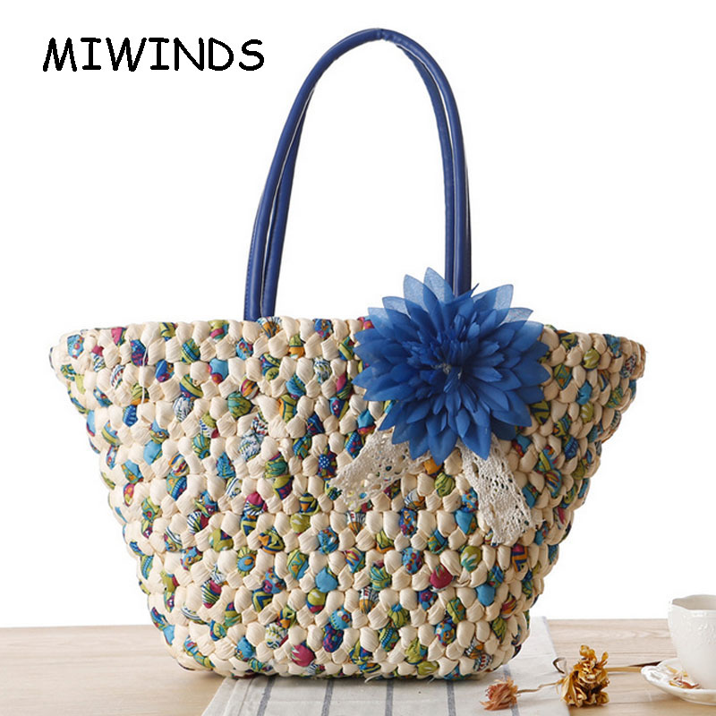 ФОТО 2017 New Arrive Hot Sale Summer Newest Straw Beach Bag Magazine Style Striped Woven Casual Bag Folwer Beach Bag Bolsa Mujer