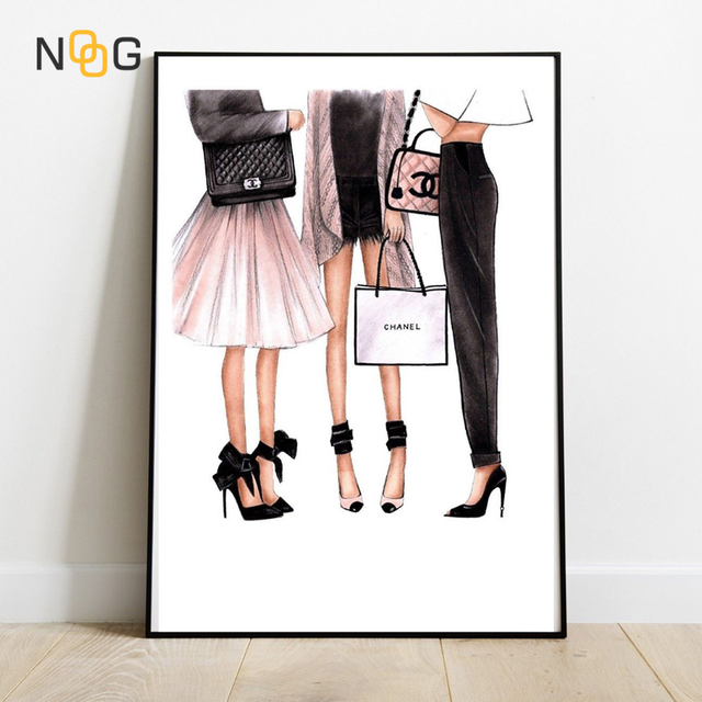 NOOG Canvas Painting Fashion Girls Nordic Wall Pop Art COCO Poster Prints Vogue Decoration Pictures For Living Room Decorative