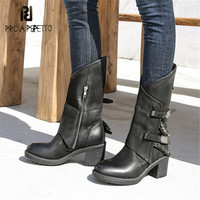 Prova Perfetto/черные женские сапоги для верховой езды из натуральной кожи ручной работы, высокие женские сапоги на высоком массивном каблуке, рез