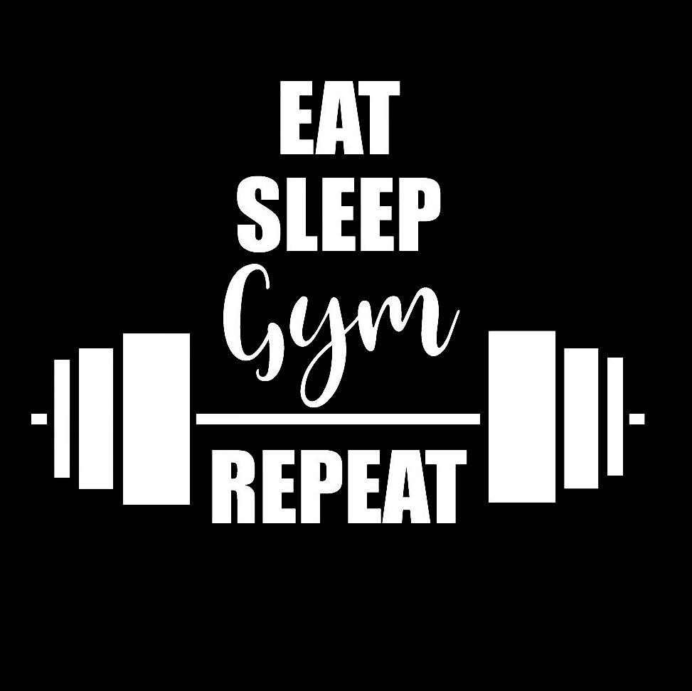Eat sleep gym repeat stickers window decal vinyl art pattern art car body stickers waterproof t071 in car stickers from automobiles motorcycles on
