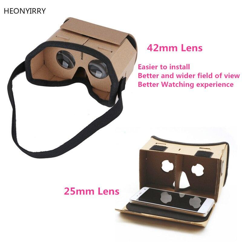 0e84489133485 DIY Portátil Óculos de Realidade Virtual Óculos Google Papelão 3D 42mm VR  lente Caixa Para SmartPhones Para O Iphone X 7 8 VR