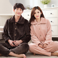 Winter New Women Men Keep Warm Flannel Nightwear 2PCS Lovers Fashion Solid Thicken Pajamas Set Couple Sleepwear Pyjamas Suit