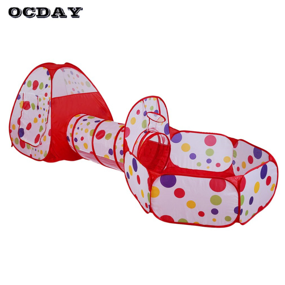 OCDAY 3 in 1 toys tent for children kids Portable Foldable Pop Up Tunnel Basketball Game Outdoor Baby house Hut Toys Play Tents