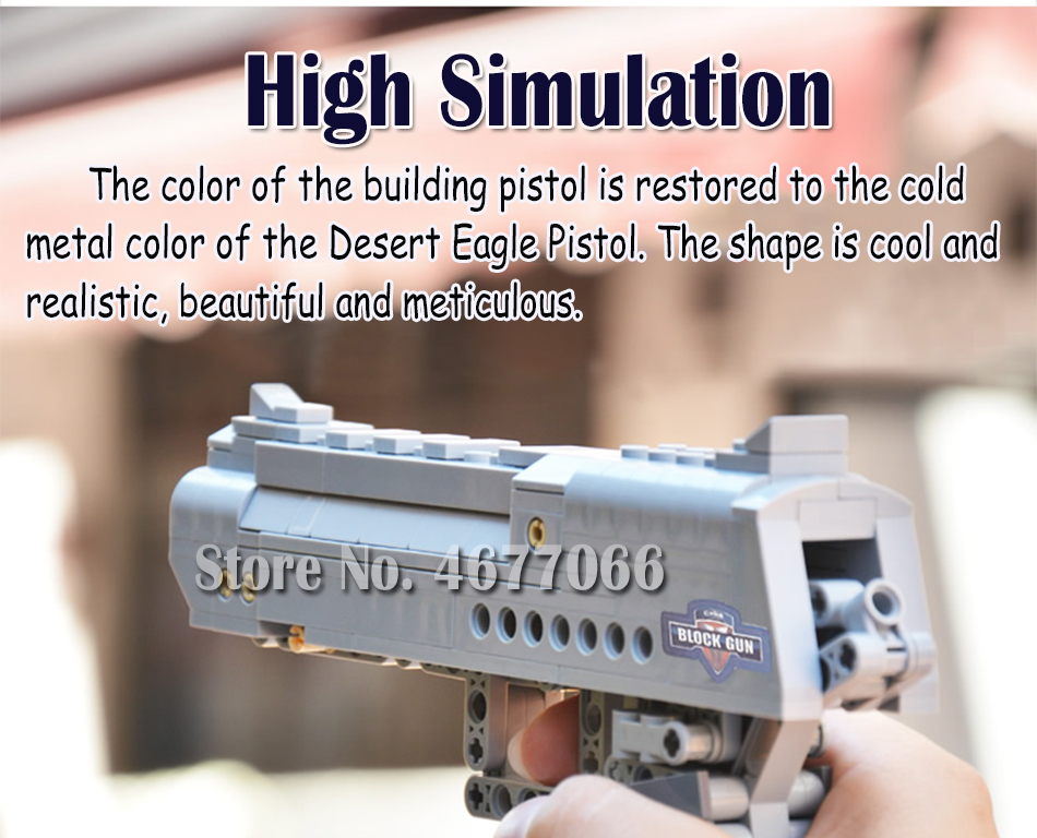 Building Blocks Toy Kit Desert Eagle toy gun for boys fire bullets Technic  DIY bricks Pistol UZI toys for children kids 52