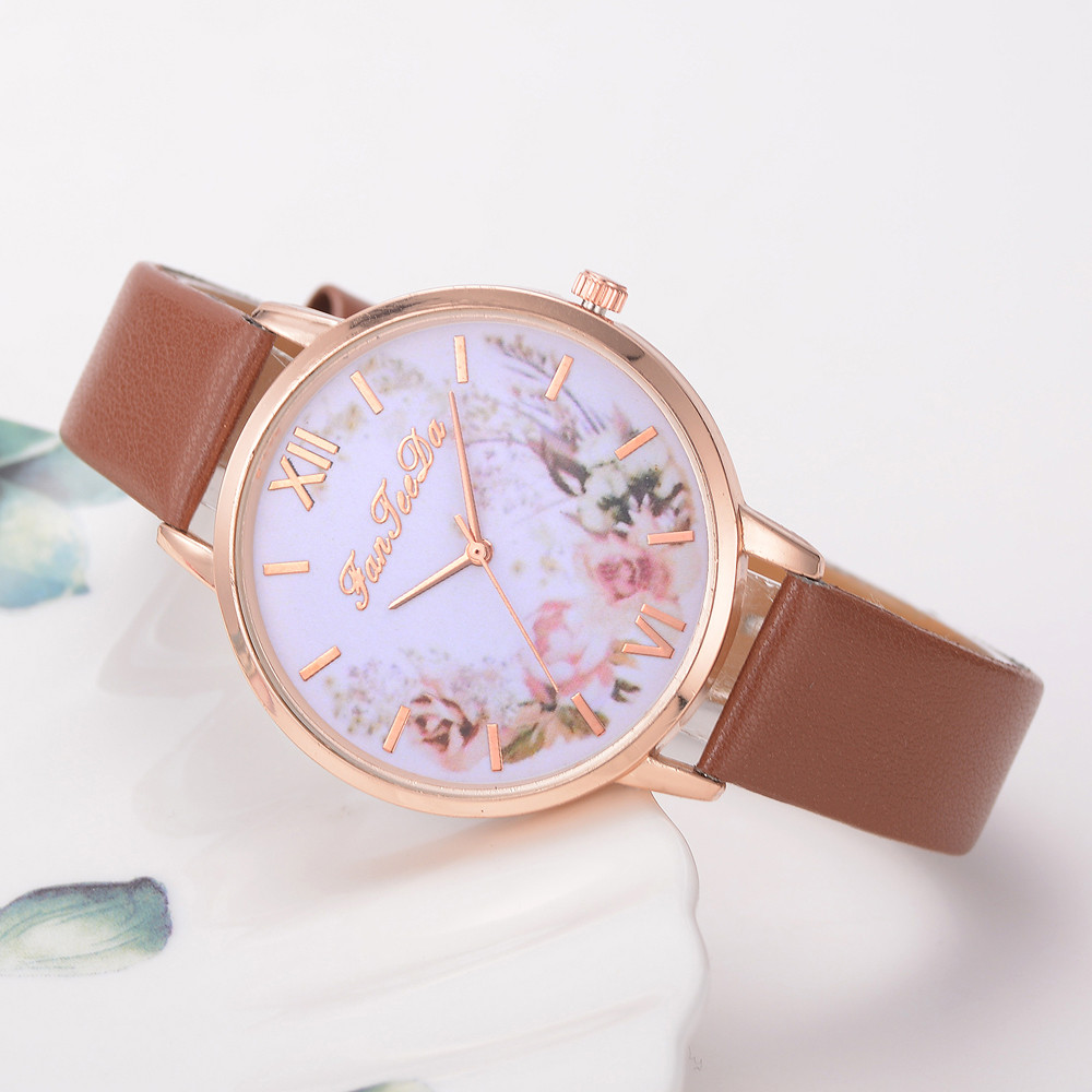 Relojes Para Mujer Hours Women Watches Leather Band Luxe Brand Times Watch Women Ladies Watch Creative Flower Bayan Kol Saati *A