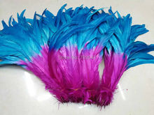 HOT!New/!100pcs/Lot!10-12inches 25-30cm long Sky Blue+Rose colour Dyed ROOSTER Tail FEATHERS,Coque feathers,beautiful,
