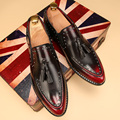 Pointed toe Tassel Leather shoes Men Slip On Brogue Shoes Flats British style Rivet shoes Casual Loafers chaussure homme 022