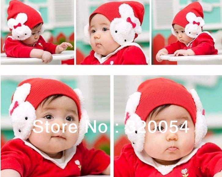 Free shipping,1pcs,2013 new Little rabbit children's keep warm hat ,Winter baby ear muff cap ,4 color,wholesale .