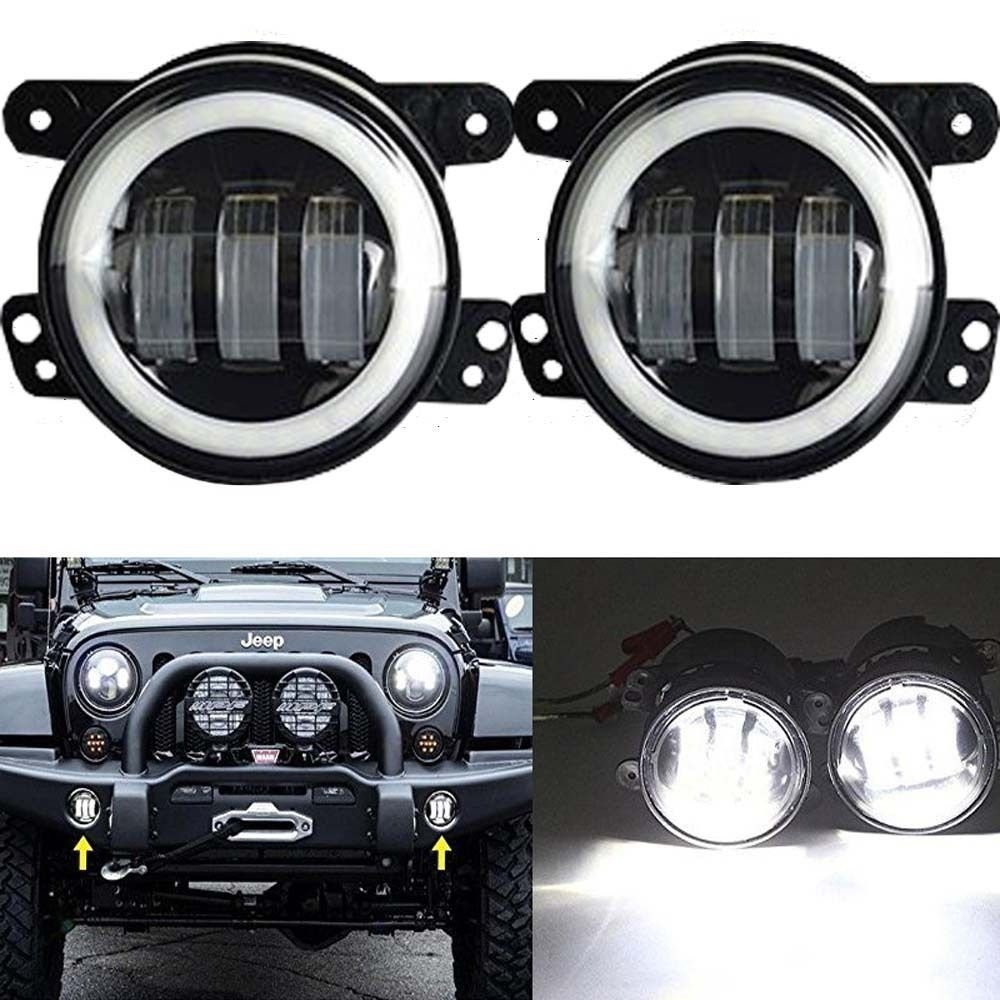 4 inch Round LED Fog Lights Offroad Lamps Front Bumper Lights White Halo Ring DRL for Jeep Rubicon Subaru Impreza Willys Dodge