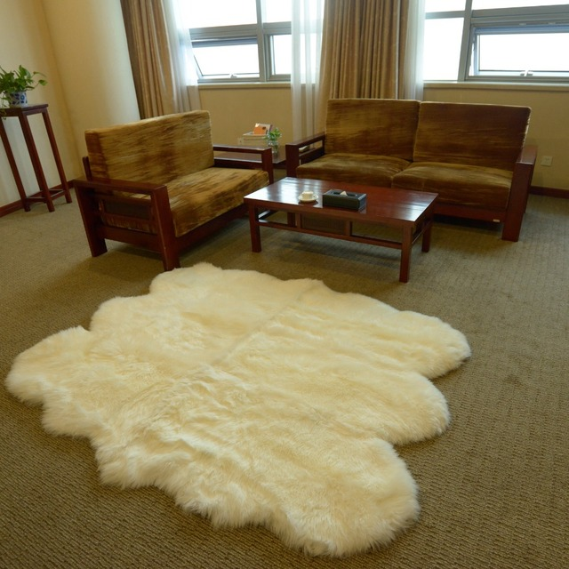 genuine real australian sheepskin rug octo eight pelt 6ft x 7ft large ivory white