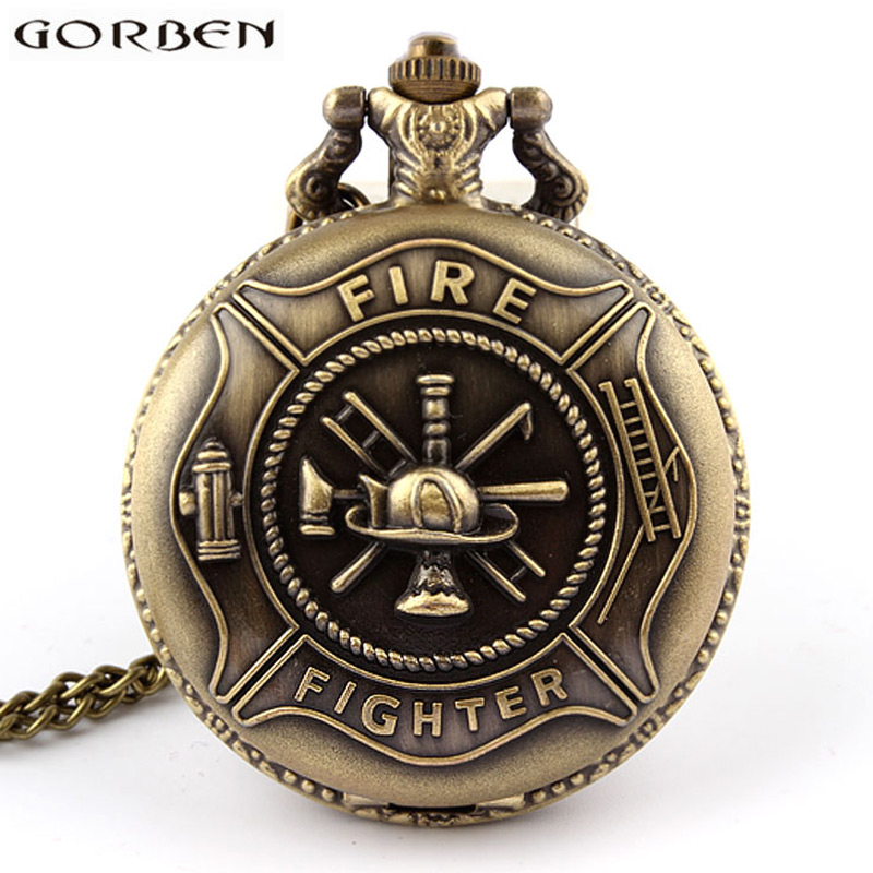 Vintage Bronze Fire Fighter Quartz Pocket Watch With Chain Steel Cute Necklace Pendants Clock Women Men Firefighter's Gift