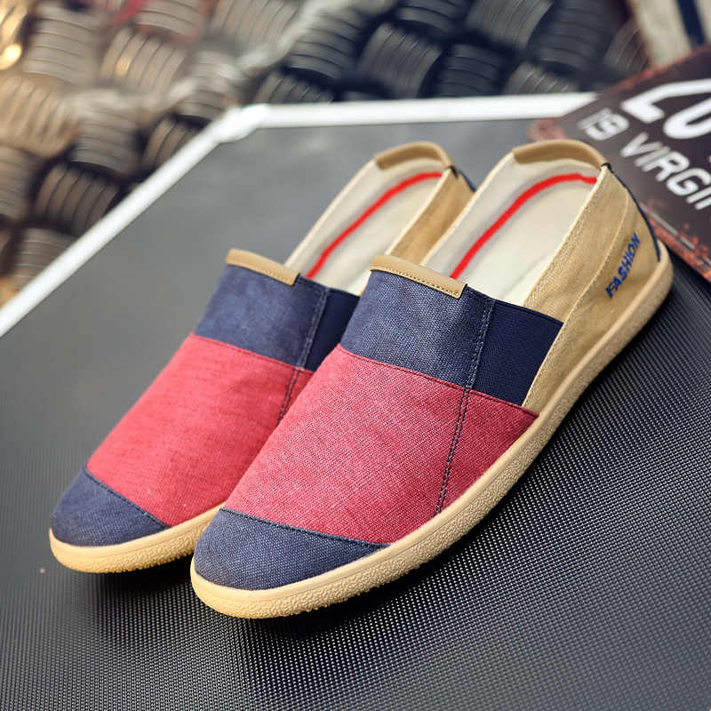 ARUONET Simple Men Flats Plimsolls Retro Style Canvas Casual Shoes Men Espadrille Fisherman Shoes Plus Size Alpargatas Hombre