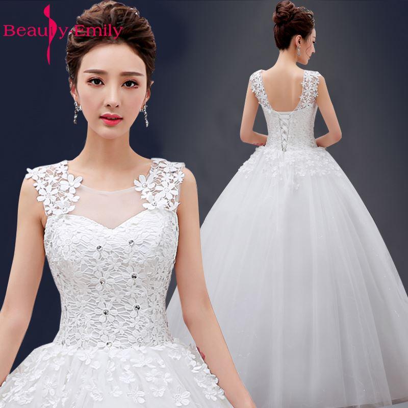 Beauty Emily White elegent Long Ball Gown Wedding Dresses 2018 Wedding Party Bridal Dresses vestido de casamento Wedding Gowns