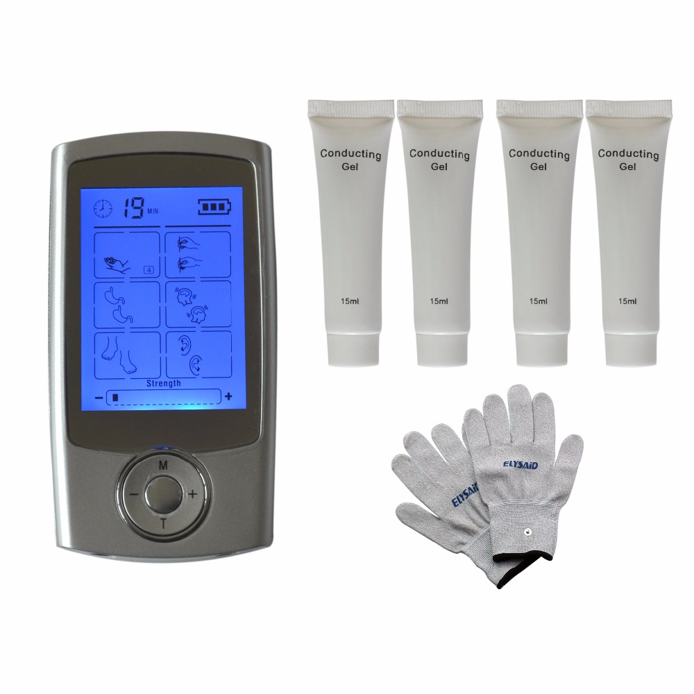 TENS/EMS 16Modes Multifunction Healthcare Physiotherapy Massager Relax Stimulator+1Pair Physiotherapy Gloves+4Pcs Conductive Gel healthcare gynecological multifunction treat for cervical erosion private health women laser device