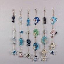 Fish string decoration wooden starfish bikini hanging Mediterranean style dolphin Decoration pendant display wall