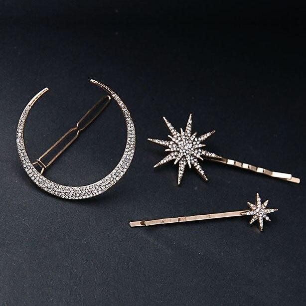 Muylinda diseño de marca estrella Luna Diamante de imitación pinza de pelo accesorios de moda para el cabello joyería de mujer