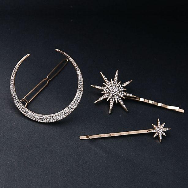 muylinda Branded Design Star Moon Rhinestone Hair Clip Hair pin Fashion Hair Accessories Women Jewelry