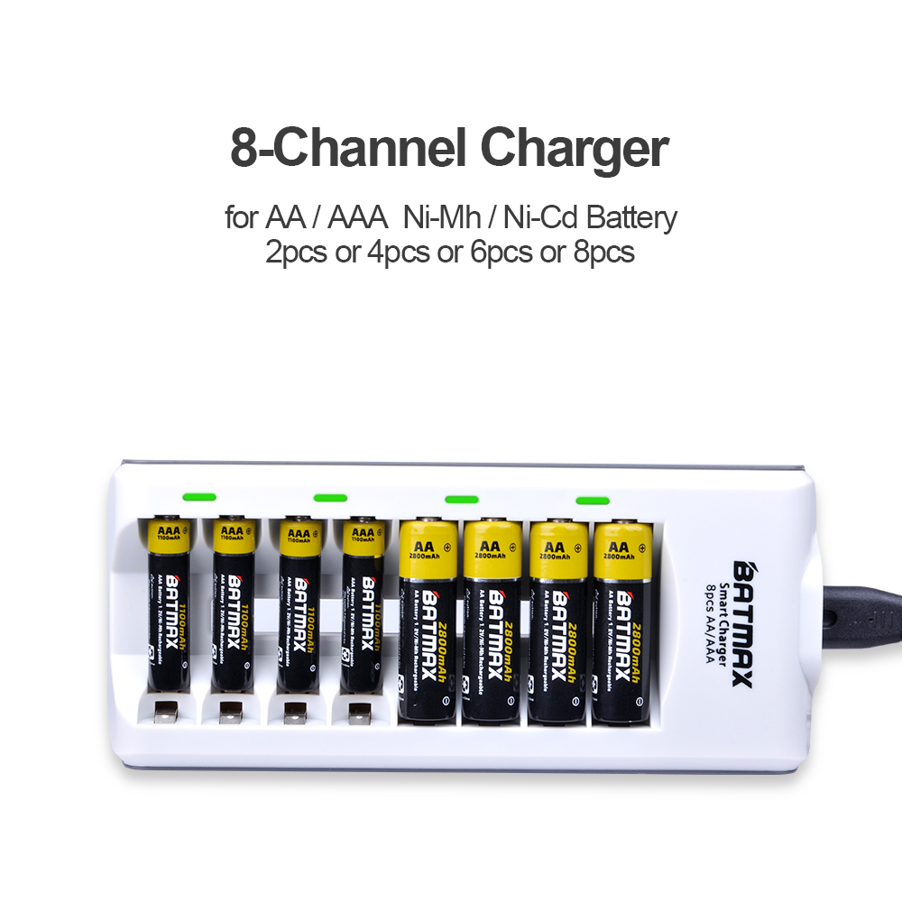 8 Bay Slot Smart Led Displays Universal Aa Aaa Ni Mh Cd Baterai Recharge Sony Battery Charger Kit For Nicd Nimh Rechargeable Batteries In Chargers From Consumer