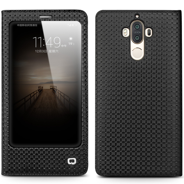 QIALINO Case for Huawei Ascend Mate 9 Luxury Genuine Leather Flip Cover for Huawei Mate9 Sleep Wake Function Smart Case for mt9