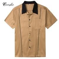 Nieuwe Ontwerpen Hot Koop Mannen Shirt Korte Mouw Casual Slim Fit Hawaiian Heren Overhemden Katoen Rockabilly Vintage 50 s Club Shirts