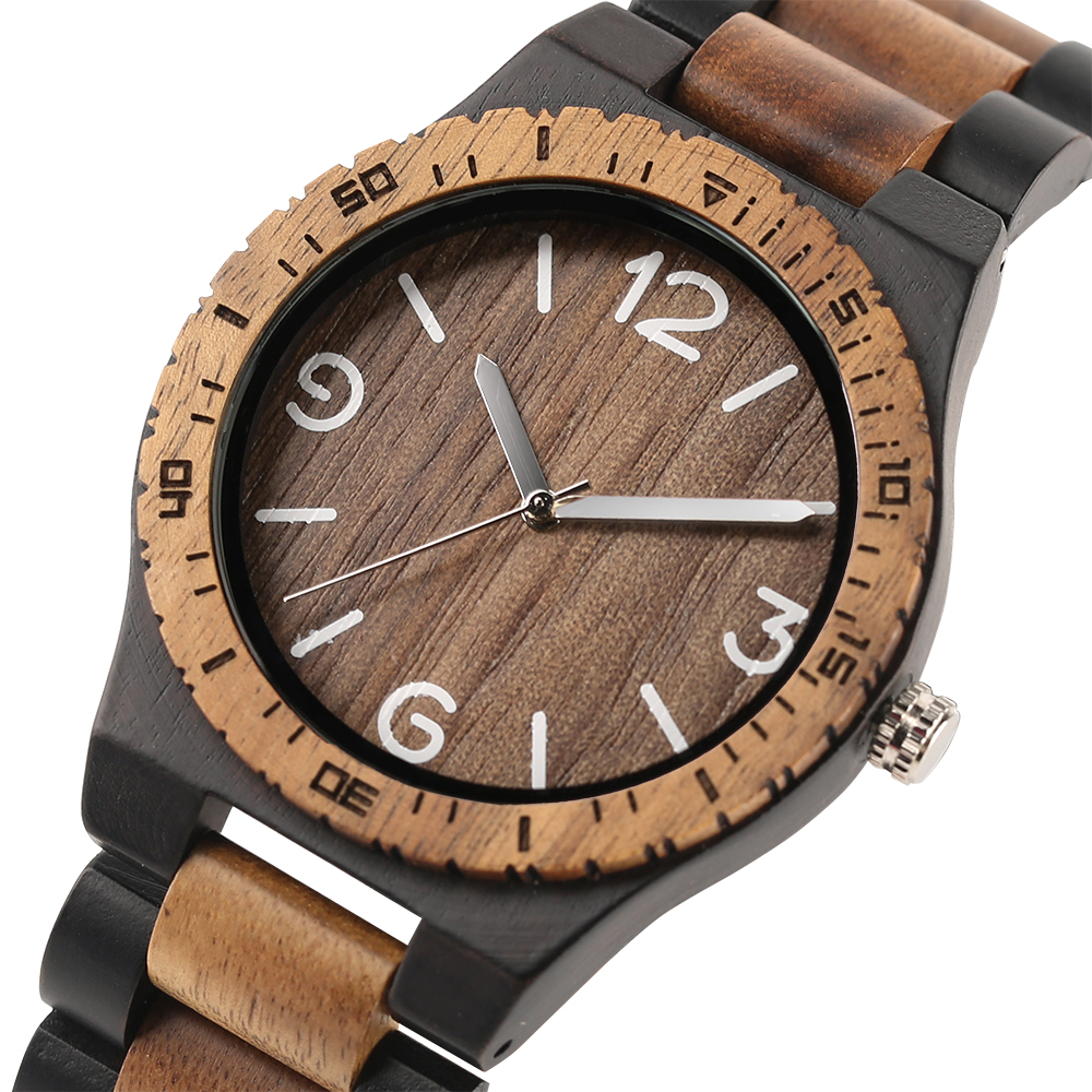 Creative Fathers Day Gift Bamboo Wooden Wrist Watch Casual Sport Men Timber Bangle Clock Full Wood Quartz Watches Male Relogio