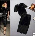 2 Piece clothing Set Women's Dress Celebrity Victoria Beckham Short Sleeve Top Runway Black Dress Spring Summer 2016 New Style