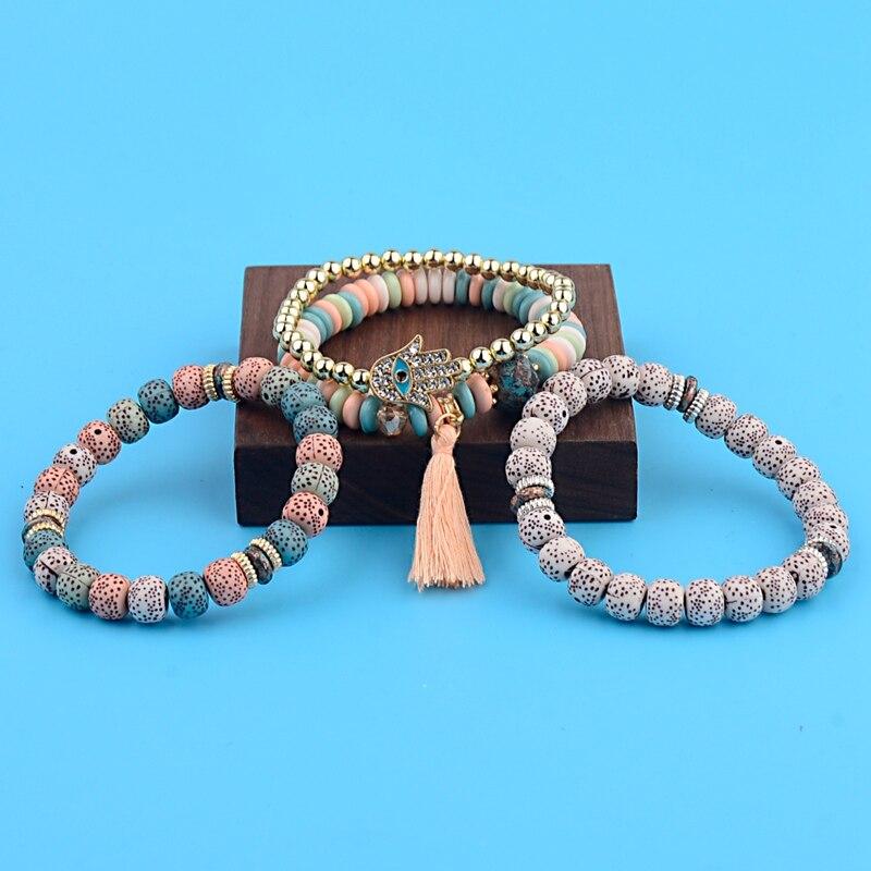 OIQUEI Vintage 4Pcs/Lot Women Bracelets Set Bohemia Charm CZ Hand Natural Stone Beads Tassel Pendents Bracelets Pour Les Femmes 7